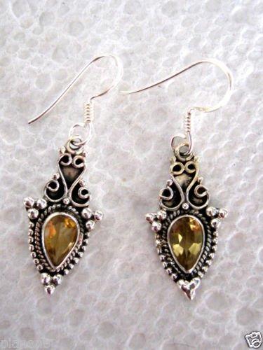 "Golden Citrine Dangle Earrings Sterling Silver .925 1.4"" Long 3.73 carats"