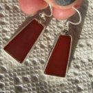 """Red Orange Onyx Dangle Earrings Sterling Silver .925 1.6"""" Long 18.52 Carats"""