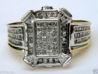1.10ct 14k Two-Tone Gold Diamond Cocktail Anniversary Engagement Ring 7.3grams