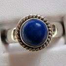 Deep Blue Lapis .925 Sterling Silver Ring Round Shape Cabochon Cut Gemstone
