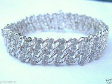 5-Row 2.00 Ct Diamond Tennis Bracelet S Link Design Silver Rhodium Plated Brass
