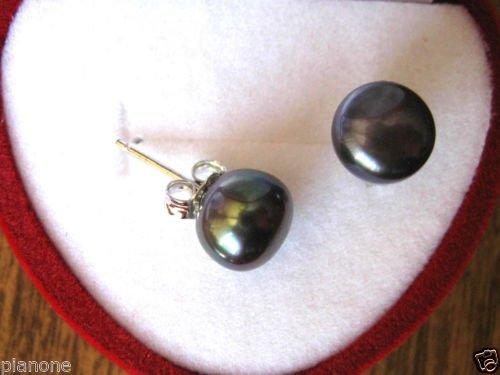 8-9mm Black Freshwater Pearl Stud Earrings Sterling Silver .925