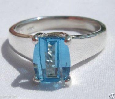 2.4 Carat Bright Blue Topaz Ring Sterling Silver .925 Cushion Cut Smooth Shank