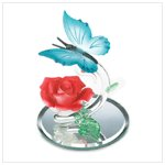 Glass Butterfly and Rose Figurine