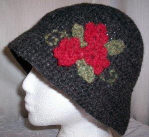 Black Wool Flower Cloche