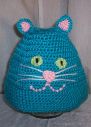 Child's Bright Blue Cat Hat