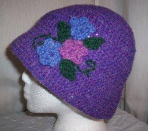Purple Wool Flower Cloche
