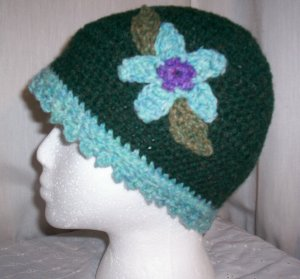 Green Flower Cloche With Blue Trim