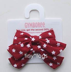NWT Gymboree Red White Blue Star Hair Bows Clips 3T 4 5