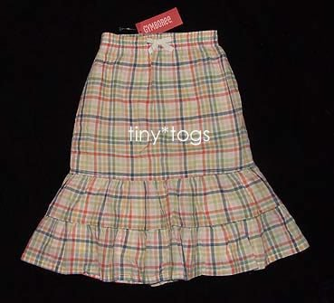 NWT Gymboree Beach Shack Checked Tiered Long Skirt 6