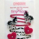 NWT Gymboree Wild One Zebra Heart Hair Snap Clips 4 5 6