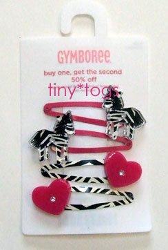 NWT Gymboree Wild One Zebra Heart Hair Snap Clips 4 5 6