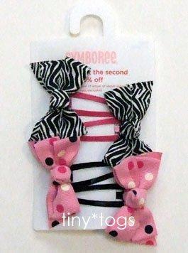 NWT Gymboree Wild One Zebra Pink Dot Bow Clips New 5 6