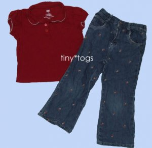 Faded Glory Outfit Set Strawberries Top Jeans 4T 4