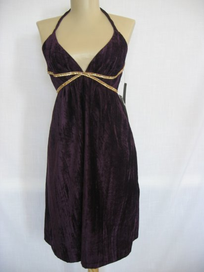 ABS by Allen Schwartz Rhinestone Velvet Halter Dress Sz 8