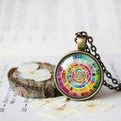 Vintage Color Wheel Necklace, Artists Pendant Color Wheel Necklace, Gift for Art