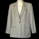 Burberrys Wool Blazer Jacket Black Tan White Size 4 S Small