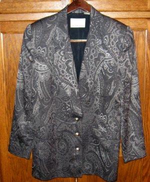 Dana Buchman Silver Gray Grey Paisley Blazer Jacket 8