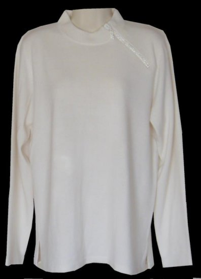 NWT Quacker Factory Winter Ivory Crystal Sweater M NEW