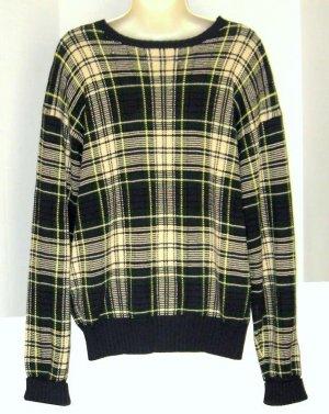 Polo Ralph Lauren Navy Yellow Green Plaid Sweater M Med