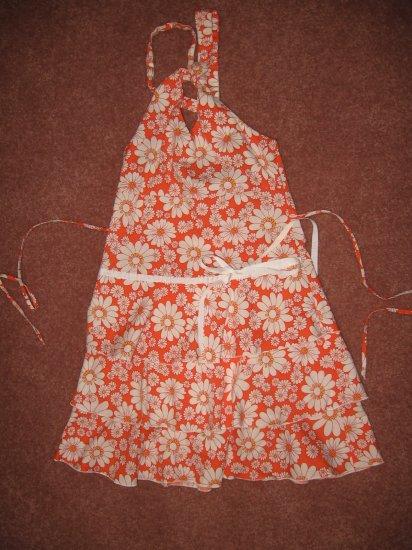 Ruffled ORANGE & WHITE Floral Print HALTER SUNDRESS sz 8