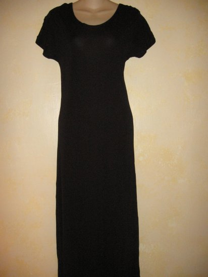 GAP~Black SLINKY Cap Slv LONG CASUAL DRESS Small