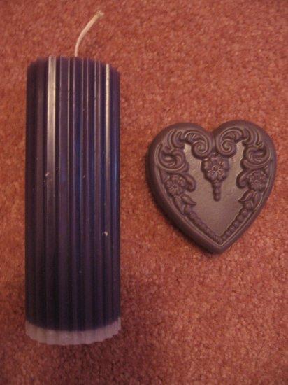 WILD LILAC~Lg PILLAR CANDLE & Heart Shaped HEMP OIL Soap