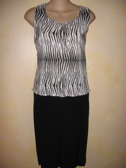 Studio One~BLACK & ZEBRA PRINT 2 Layer TANK DRESS LG