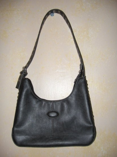 BLACK Leather Like LACED & Grommeted PURSE-Bag