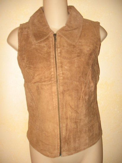 New w/Tags~Hunt Club-J.C PENNY Brown SUEDE-Leather VEST Zip Up sz 10