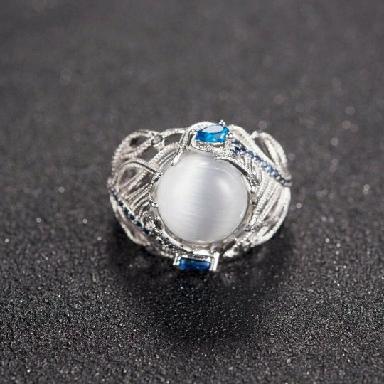 RING SILVER OPAL PROTECTION REMOVE BLACK MAGIC SPELL EVIL EYE SPIRIT PARANORMAL
