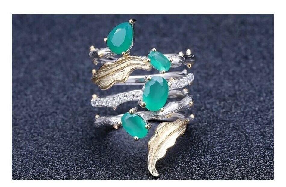 RING 925 STERLING SILVER GREEN AGATE PROTECTION BLACK MAGIC EVIL EYE SPELL JINN