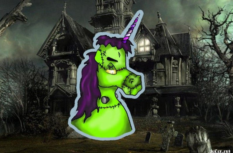 "STICKER! Frankenstein Halloweenicorn 3.5""x 2"" Unicorns Love Halloween costumes,"