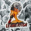 """Leatherfish STICKER 3""""x 2.5"""" Leatherface meets Goldfish, waterproof, Glossy"""