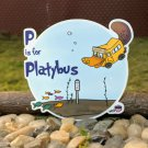"P is for Platybus STICKER 3""x 3"" School Bus for Ocean Life, waterproof, Glossy"