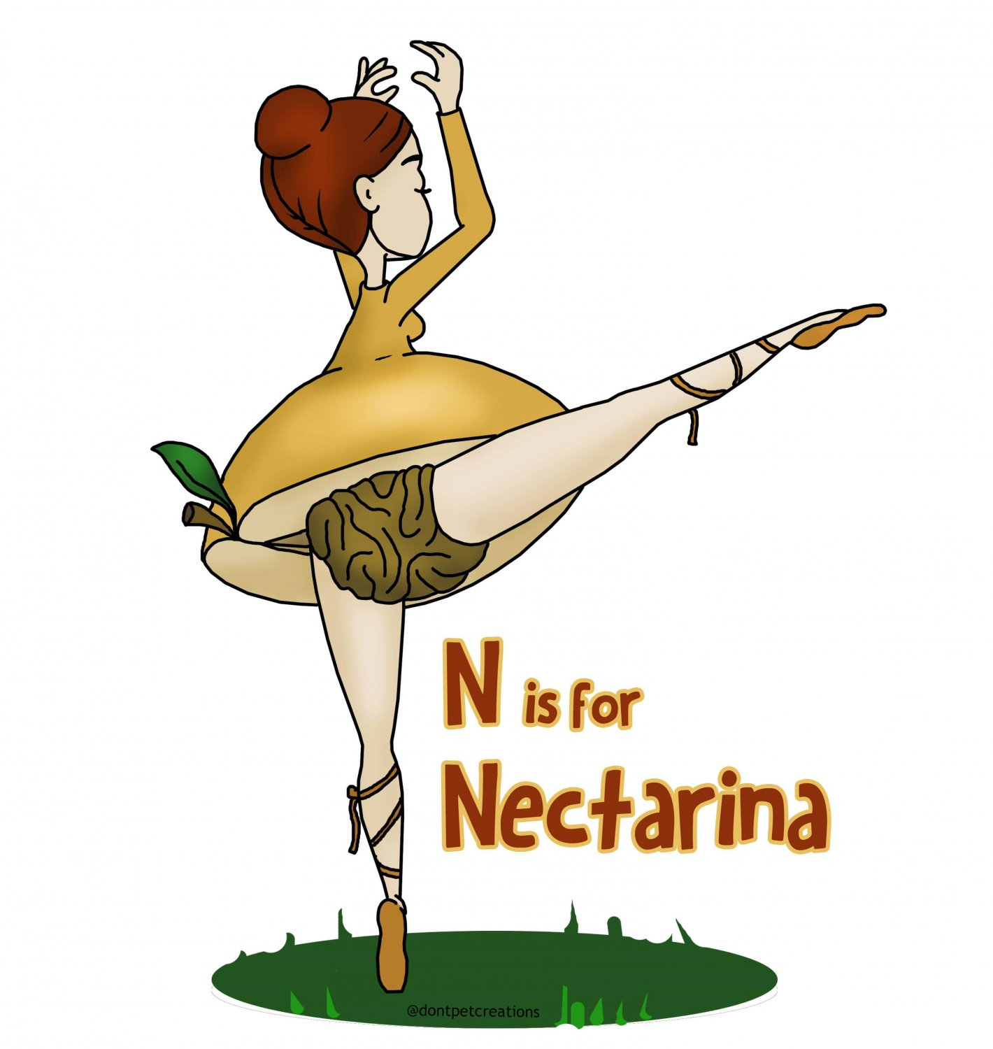 "N is for Nectarina STICKER 3""x 2"" Peachy Fruity Ballerina,  Glossy"