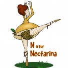 "N is for Nectarina STICKER 3""x 2"" Peachy Fruity Ballerina, waterproof, Glossy"