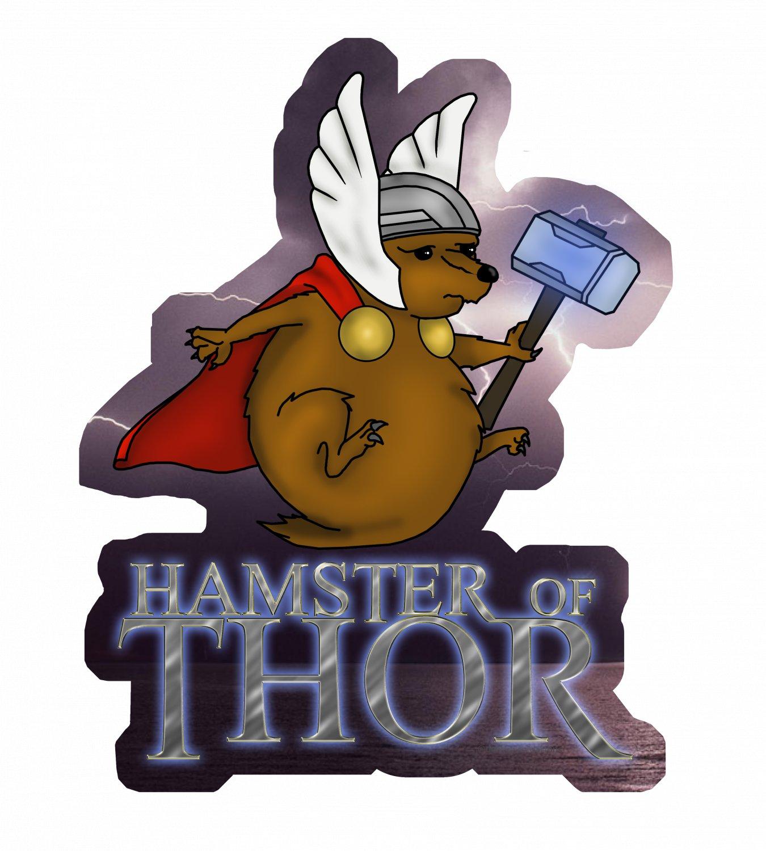 "Hamster Of Thor STICKER 3""x 2.5"" Cute Marvel Avengers Mashup Art, waterproof, glossy"
