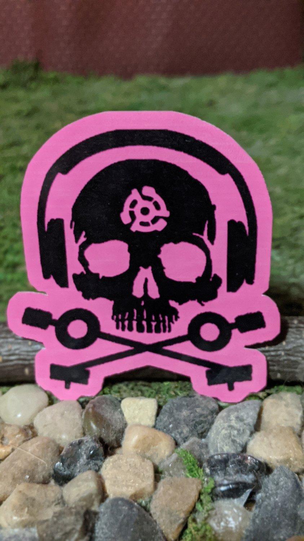 D.J. Skeleton STICKER (PINK version)  Glossy, Die Cut