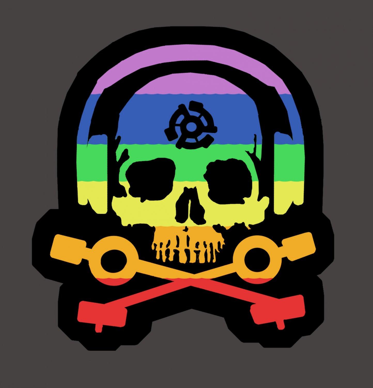 D.J. Skeleton logo STICKER (Rainbow Version) - Glossy, Die Cut