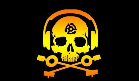 D.J. Skeleton logo STICKER (Orange/Yellow Version) -  & glossy