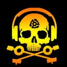 D.J. Skeleton logo STICKER (Orange/Yellow Version) - waterproof & glossy