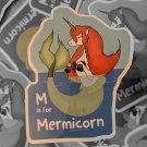 "M is for Mermicorn Glossy STICKER 3""x 2.5"" Mermaids and Unicorns, Glossy, waterproof"