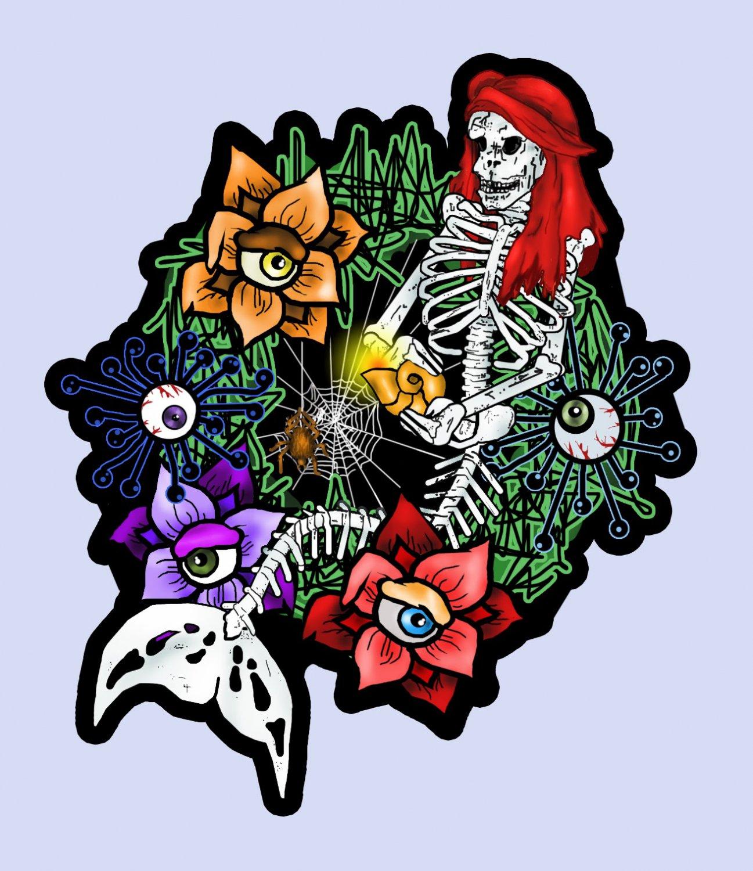 """Mermaid Skeleton Wreath STICKER 2.5 x 2"""" halloween waterproof"""