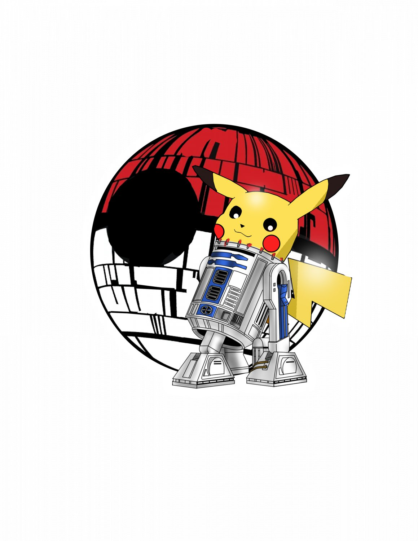 "ABoMinaTioN #3 Artoo-Dee-Chu Star Wars Pokemon mashup parody STICKER 3"" Die Cut,   Glossy"