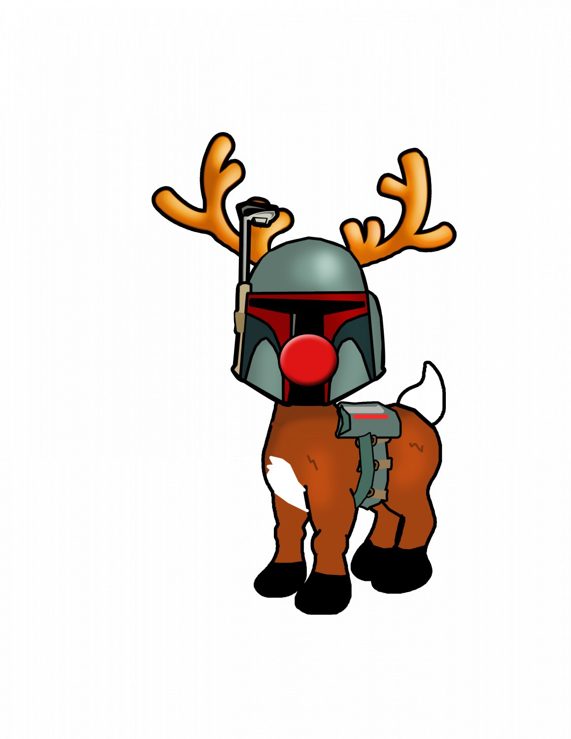 """ABoMinaTioN #6: Boba the Fett Nosed Reindeer STICKER 3"""" Die Cut,   Glossy"""