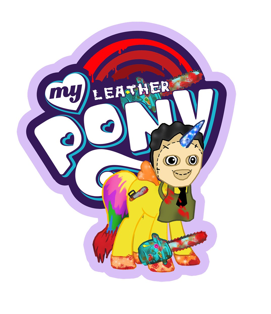 "ABoMinaTioN #7: My Leather Pony STICKER 3"" Die Cut,   Glossy"