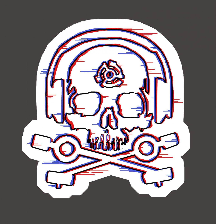 D.J. Skeleton STICKER - Glitch version -  Glossy, Die Cut