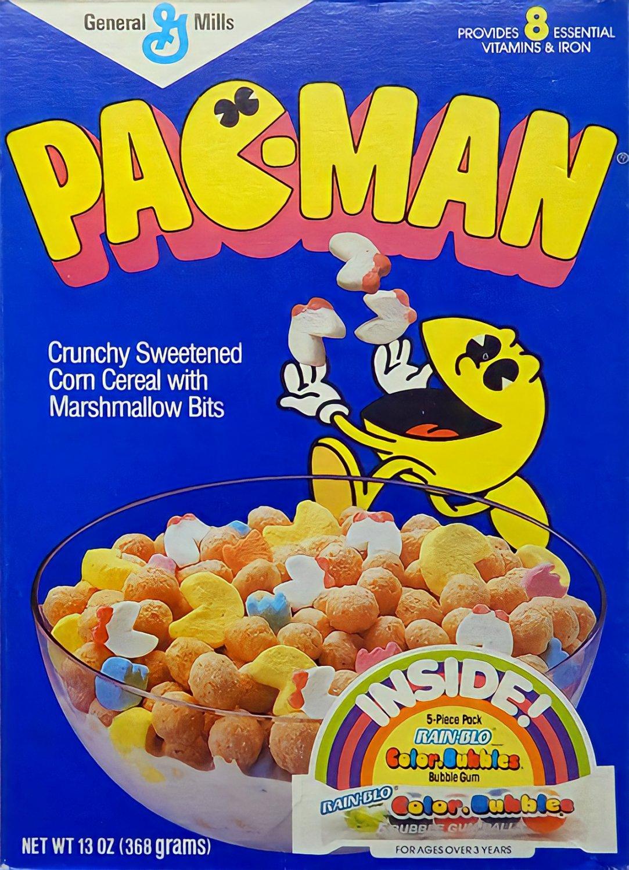"Pac Man Cereal STICKER 3"" Glossy,  (AI Enhanced!)"