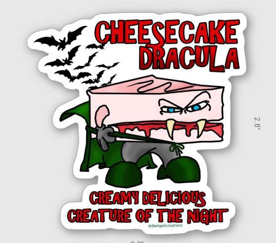 """Cheesecake Dracula STICKER 3""""   Glossy, Die Cut"""